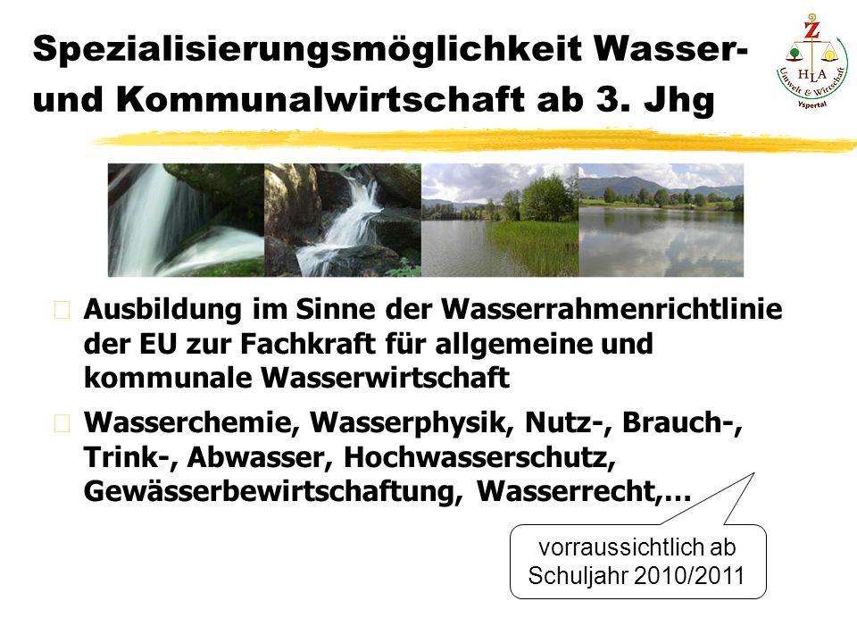 Spezialisierungsmöglichkeit Wasser- und Kommunalwirtschaft ab 3.