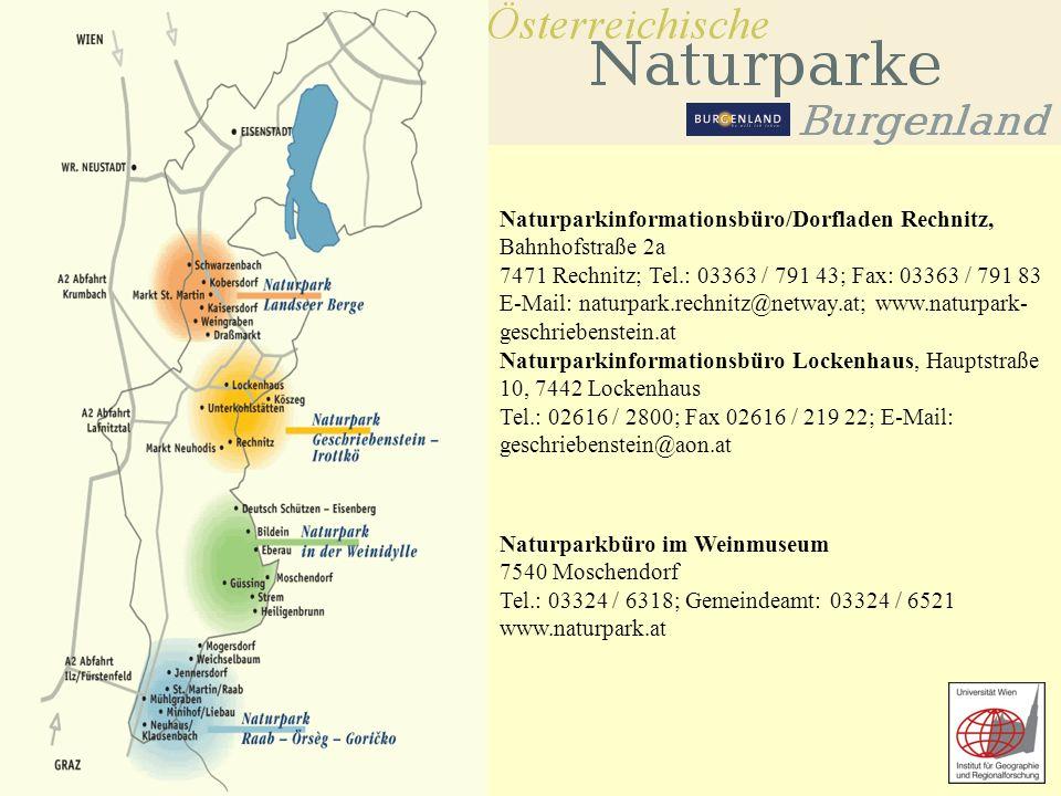 Übungen zur Geographie ländlicher Räume SS 2006 Naturparkinformationsbüro/Dorfladen Rechnitz, Bahnhofstraße 2a 7471 Rechnitz; Tel.: 03363 / 791 43; Fax: 03363 / 791 83 E-Mail: naturpark.rechnitz@netway.at; www.naturpark- geschriebenstein.at Naturparkinformationsbüro Lockenhaus, Hauptstraße 10, 7442 Lockenhaus Tel.: 02616 / 2800; Fax 02616 / 219 22; E-Mail: geschriebenstein@aon.at Naturparkbüro im Weinmuseum 7540 Moschendorf Tel.: 03324 / 6318; Gemeindeamt: 03324 / 6521 www.naturpark.at