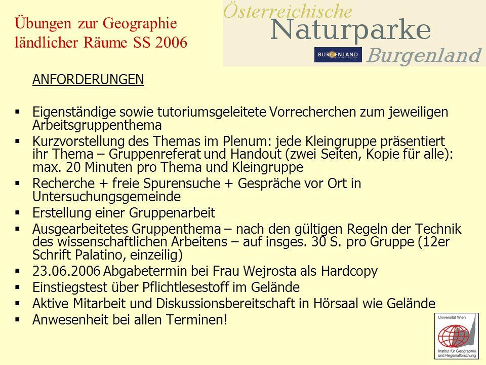 Übungen zur Geographie ländlicher Räume SS 2006