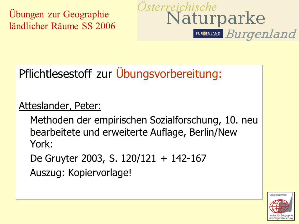 Übungen zur Geographie ländlicher Räume SS 2006 Für Interessierte: Die neue Broschüre 2006 kann gegen einen Unkostenbeitrag von 2,50 beim Verband der Naturparke Österreichs bestellt werden.