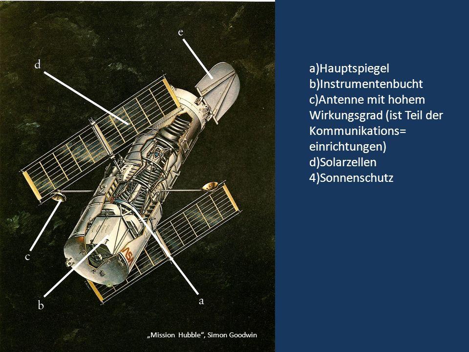 a)Hauptspiegel b)Instrumentenbucht c)Antenne mit hohem Wirkungsgrad (ist Teil der Kommunikations= einrichtungen) d)Solarzellen 4)Sonnenschutz Mission