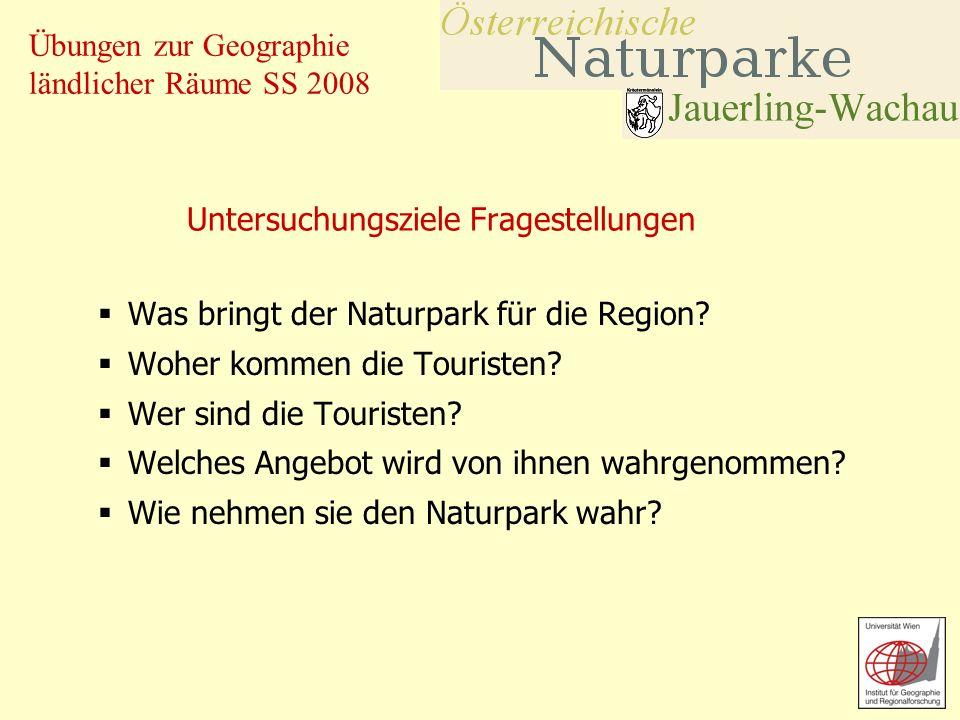 Übungen zur Geographie ländlicher Räume SS 2008 Untersuchungsziele Fragestellungen Was bringt der Naturpark für die Region? Woher kommen die Touristen