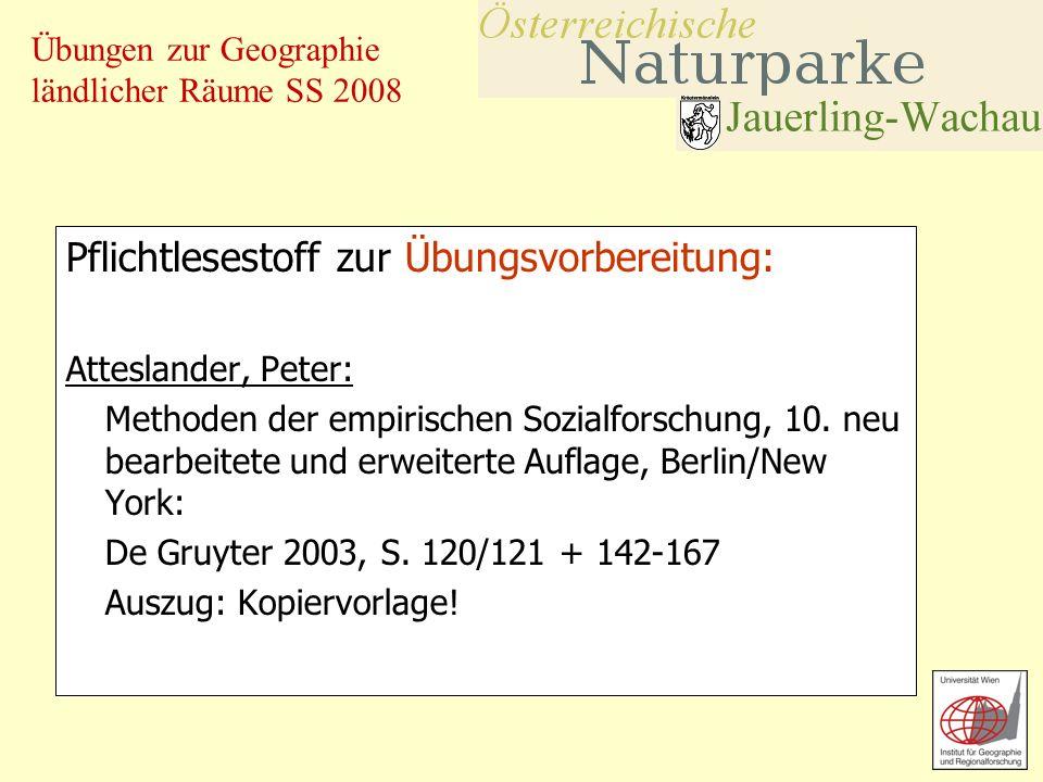 Übungen zur Geographie ländlicher Räume SS 2008 Pflichtlesestoff zur Übungsvorbereitung: Atteslander, Peter: Methoden der empirischen Sozialforschung,