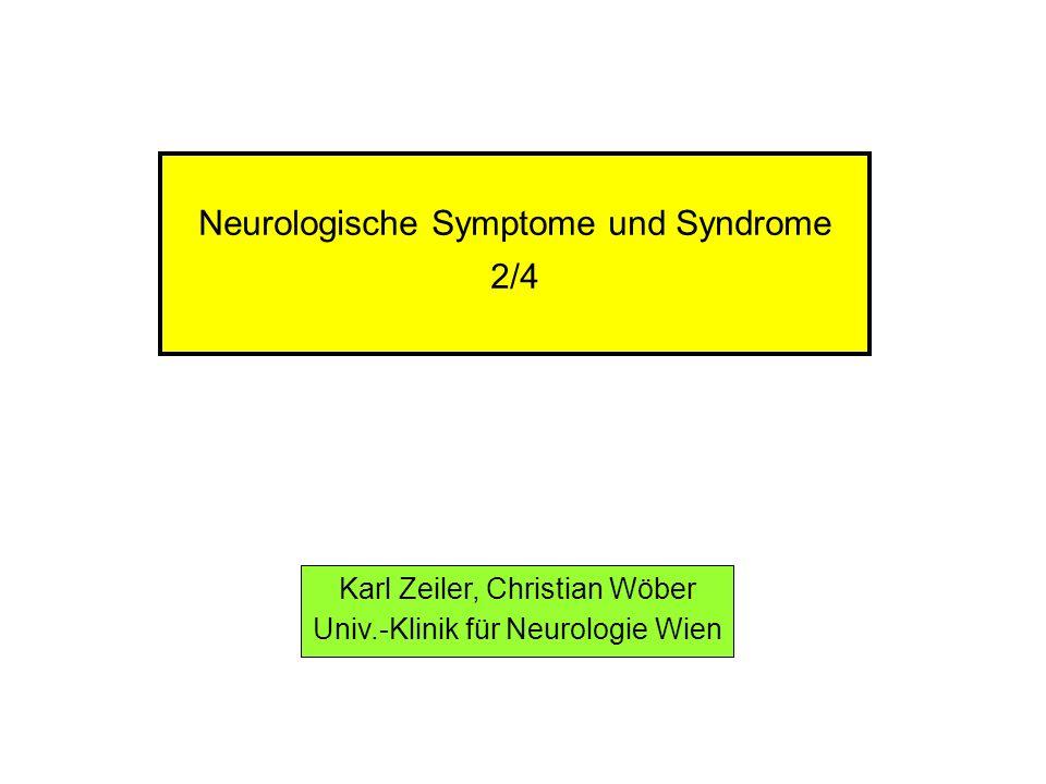 Augenmotilitätsstörungen Ursachen (2) Läsionen im Bereich der pontinen Blickzentren zerebrale Durchblutungsstörungen auf ischämischer Basis (Hirn- stamm-Infarkte) traumatisch bedingte Läsionen (Hirnstamm-Kontusionen, Dezere- brations-Syndrome) spontane intrazerebrale Hämatome Tumoren Hydrocephalus occlusus entzündliche Prozesse (Hirnstamm-Enzephalitiden, Multiple Skle- rose) Syringobulbie