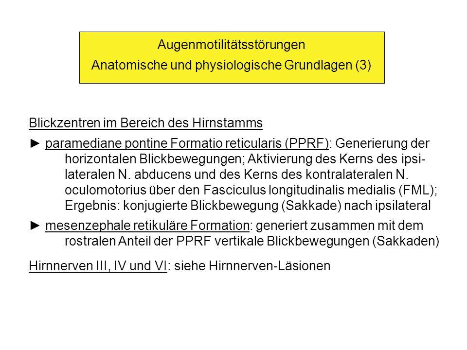 Augenmotilitätsstörungen Anatomische und physiologische Grundlagen (3) Blickzentren im Bereich des Hirnstamms paramediane pontine Formatio reticularis (PPRF): Generierung der horizontalen Blickbewegungen; Aktivierung des Kerns des ipsi- lateralen N.