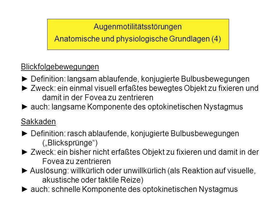 Augenmotilitätsstörungen Anatomische und physiologische Grundlagen (4) Blickfolgebewegungen Definition: langsam ablaufende, konjugierte Bulbusbewegungen Zweck: ein einmal visuell erfaßtes bewegtes Objekt zu fixieren und damit in der Fovea zu zentrieren auch: langsame Komponente des optokinetischen Nystagmus Sakkaden Definition: rasch ablaufende, konjugierte Bulbusbewegungen (Blicksprünge) Zweck: ein bisher nicht erfaßtes Objekt zu fixieren und damit in der Fovea zu zentrieren Auslösung: willkürlich oder unwillkürlich (als Reaktion auf visuelle, akustische oder taktile Reize) auch: schnelle Komponente des optokinetischen Nystagmus