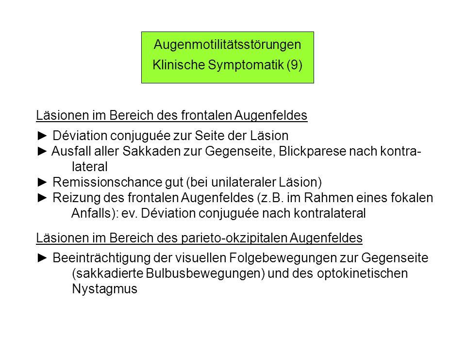 Läsionen im Bereich des frontalen Augenfeldes Déviation conjuguée zur Seite der Läsion Ausfall aller Sakkaden zur Gegenseite, Blickparese nach kontra- lateral Remissionschance gut (bei unilateraler Läsion) Reizung des frontalen Augenfeldes (z.B.