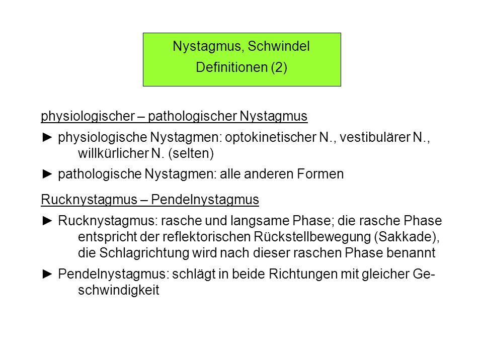 Nystagmus, Schwindel Definitionen (2) physiologischer – pathologischer Nystagmus physiologische Nystagmen: optokinetischer N., vestibulärer N., willkürlicher N.