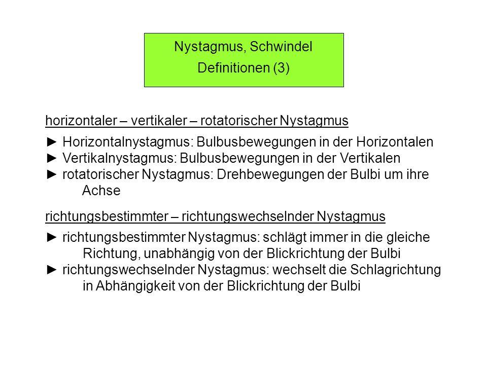 Nystagmus, Schwindel Definitionen (3) horizontaler – vertikaler – rotatorischer Nystagmus Horizontalnystagmus: Bulbusbewegungen in der Horizontalen Ve