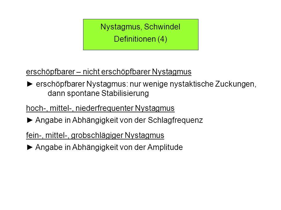 Nystagmus, Schwindel Definitionen (4) erschöpfbarer – nicht erschöpfbarer Nystagmus erschöpfbarer Nystagmus: nur wenige nystaktische Zuckungen, dann spontane Stabilisierung hoch-, mittel-, niederfrequenter Nystagmus Angabe in Abhängigkeit von der Schlagfrequenz fein-, mittel-, grobschlägiger Nystagmus Angabe in Abhängigkeit von der Amplitude