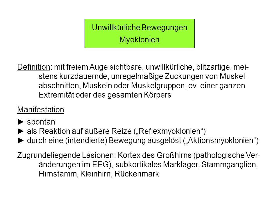 Myoklonien Symptomatik und Ursachen (1) Physiologische Myoklonien kurzdauernde Myoklonien in der Einschlafphase (benigne Myo- klonien beim Einschlafen), während Traumphasen, in der Aufwachphase Myoklonien in vor kurzem überlasteten Muskeln Zusammenzucken (als Schreckreaktion) Myoklonien im Zusammenhang mit epileptischen Anfällen, Epilepsien Myoklonien im Zusammenhang mit Synkopen während oder unmittelbar nach Synkopen: ev.