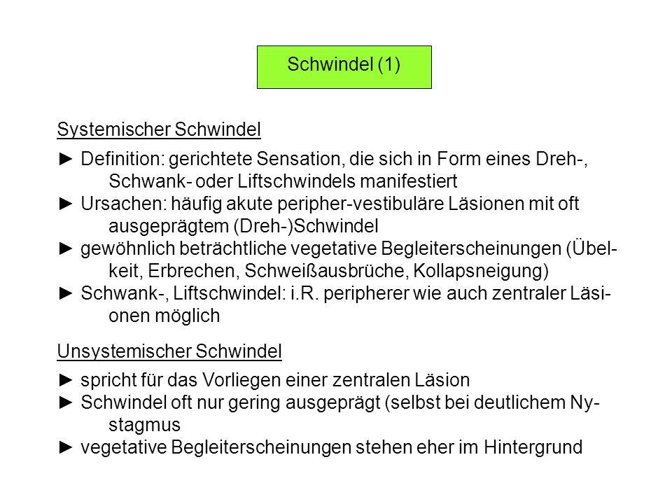 Schwindel (1) Systemischer Schwindel Definition: gerichtete Sensation, die sich in Form eines Dreh-, Schwank- oder Liftschwindels manifestiert Ursache