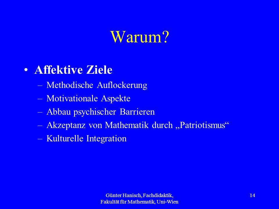 Günter Hanisch, Fachdidaktik, Fakultät für Mathematik, Uni-Wien 14 Warum? Affektive Ziele –Methodische Auflockerung –Motivationale Aspekte –Abbau psyc