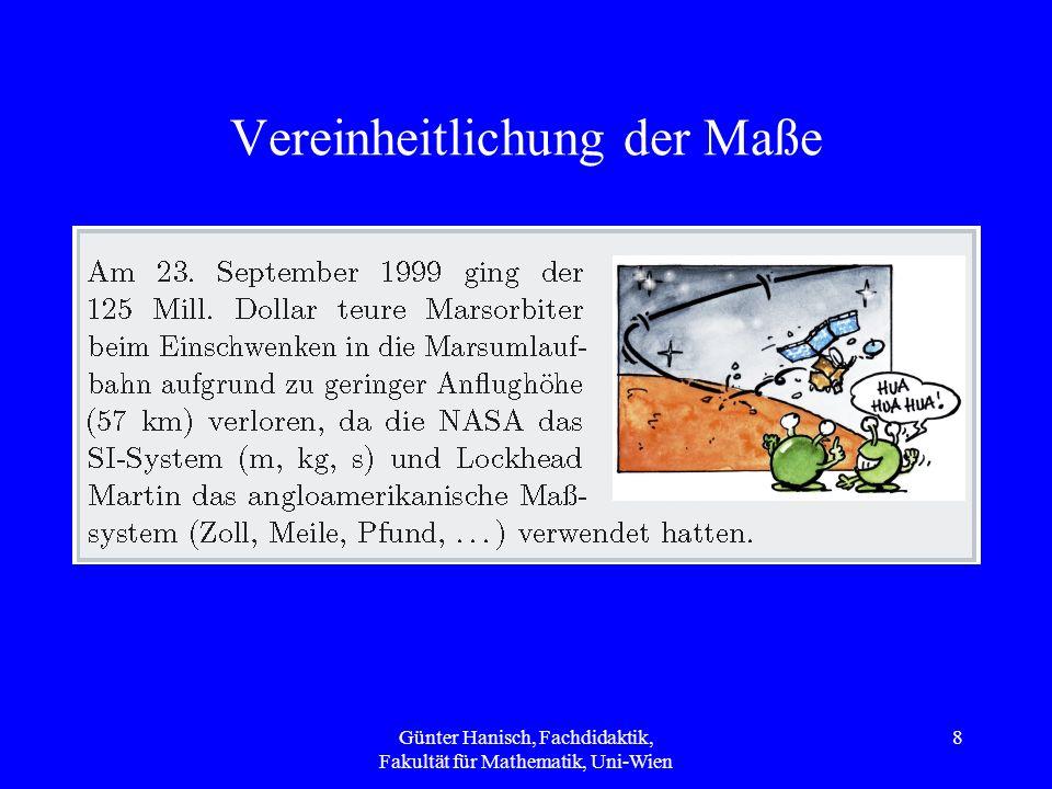 Vereinheitlichung der Maße Günter Hanisch, Fachdidaktik, Fakultät für Mathematik, Uni-Wien 8