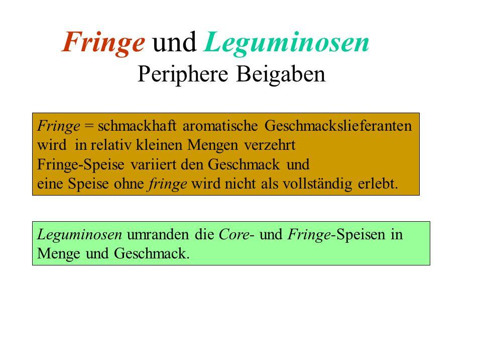 Fringe und Leguminosen Periphere Beigaben Fringe = schmackhaft aromatische Geschmackslieferanten wird in relativ kleinen Mengen verzehrt Fringe-Speise
