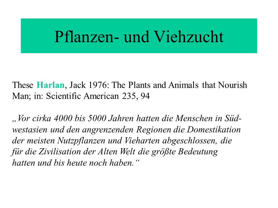 These Harlan, Jack 1976: The Plants and Animals that Nourish Man; in: Scientific American 235, 94 Vor cirka 4000 bis 5000 Jahren hatten die Menschen i