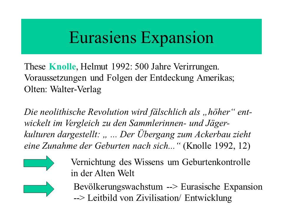 Eurasiens Expansion These Knolle, Helmut 1992: 500 Jahre Verirrungen. Voraussetzungen und Folgen der Entdeckung Amerikas; Olten: Walter-Verlag Die neo