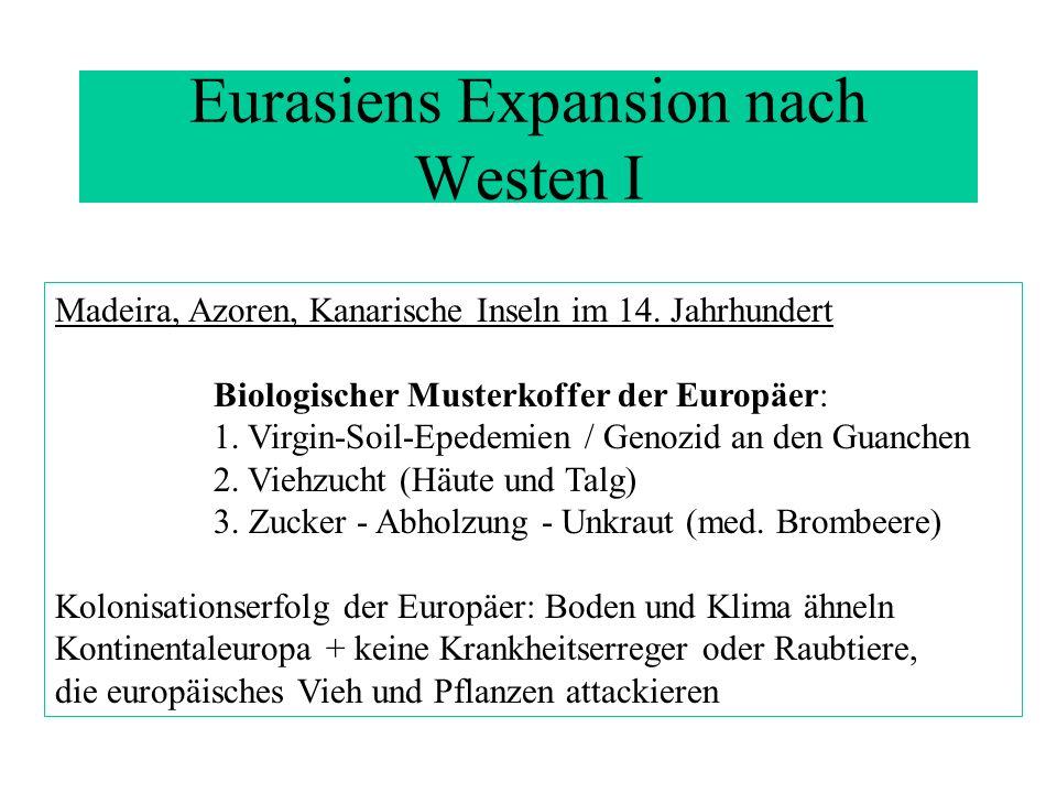 Eurasiens Expansion nach Westen I Madeira, Azoren, Kanarische Inseln im 14. Jahrhundert Biologischer Musterkoffer der Europäer: 1. Virgin-Soil-Epedemi