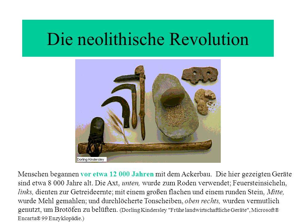 Die neolithische Revolution Menschen begannen vor etwa 12 000 Jahren mit dem Ackerbau. Die hier gezeigten Geräte sind etwa 8 000 Jahre alt. Die Axt, u