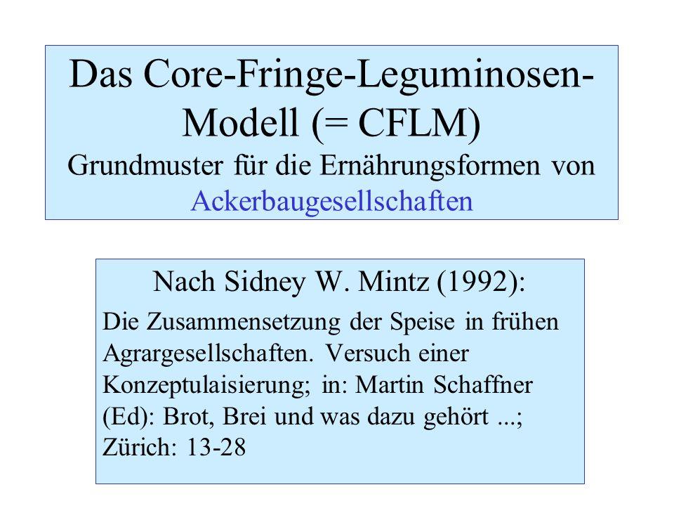 Nach Sidney W. Mintz (1992): Die Zusammensetzung der Speise in frühen Agrargesellschaften. Versuch einer Konzeptulaisierung; in: Martin Schaffner (Ed)