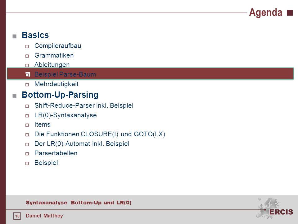 10 Syntaxanalyse Bottom-Up und LR(0) Daniel Matthey Agenda Basics Compileraufbau Grammatiken Ableitungen Beispiel Parse-Baum Mehrdeutigkeit Bottom-Up-