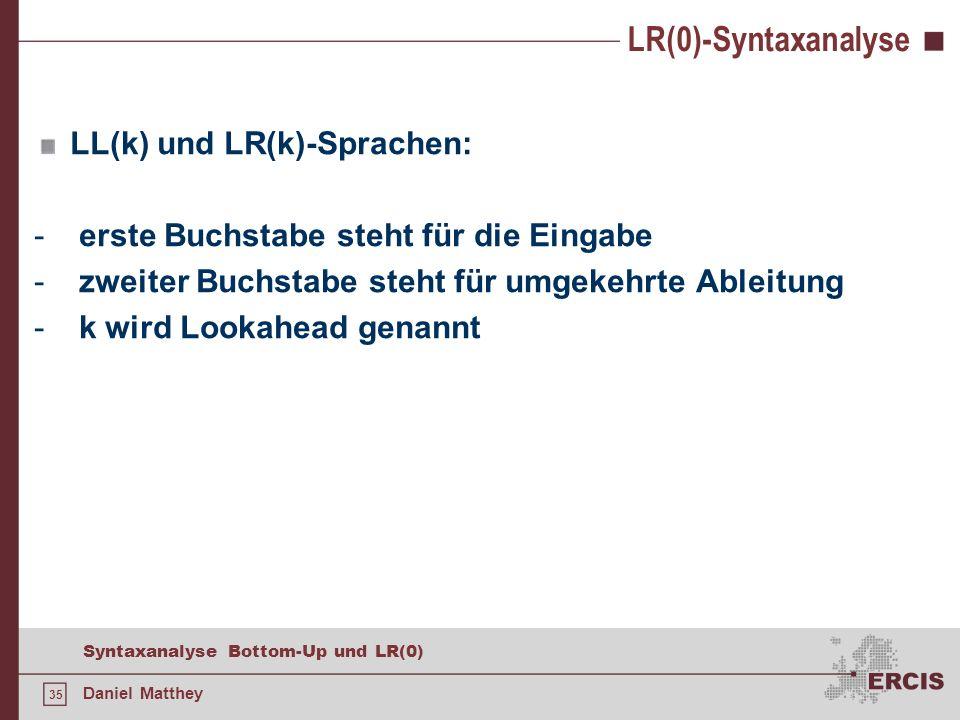 35 Syntaxanalyse Bottom-Up und LR(0) Daniel Matthey LR(0)-Syntaxanalyse LL(k) und LR(k)-Sprachen: - erste Buchstabe steht für die Eingabe - zweiter Bu