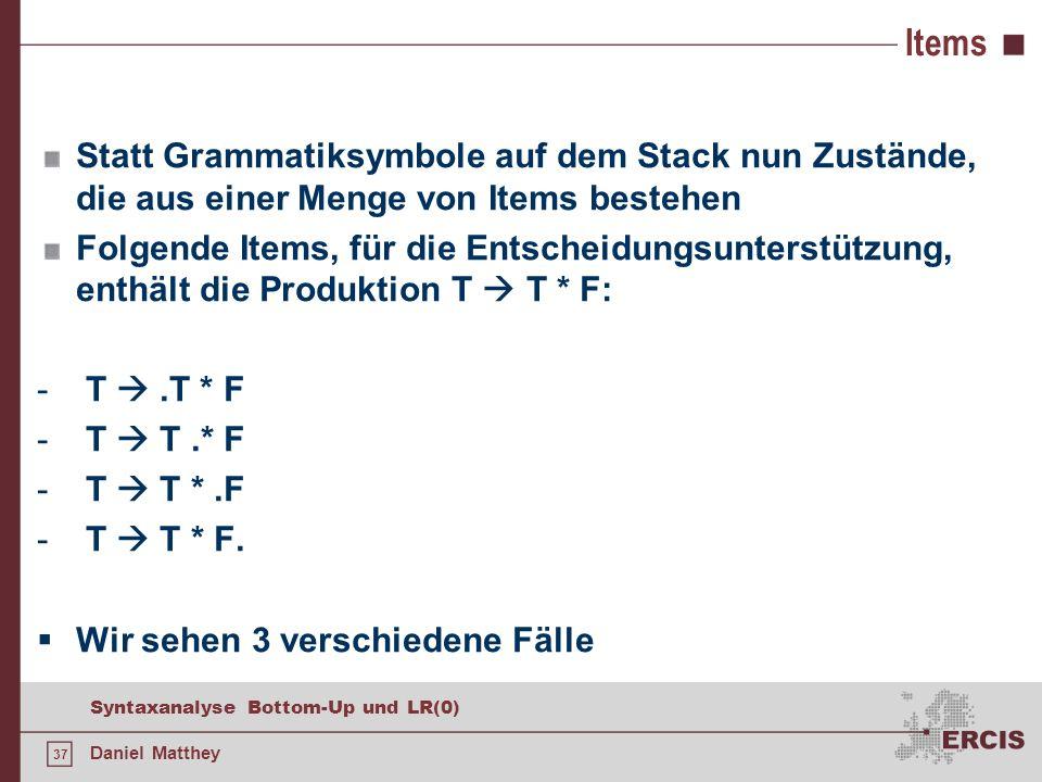 37 Syntaxanalyse Bottom-Up und LR(0) Daniel Matthey Items Statt Grammatiksymbole auf dem Stack nun Zustände, die aus einer Menge von Items bestehen Fo