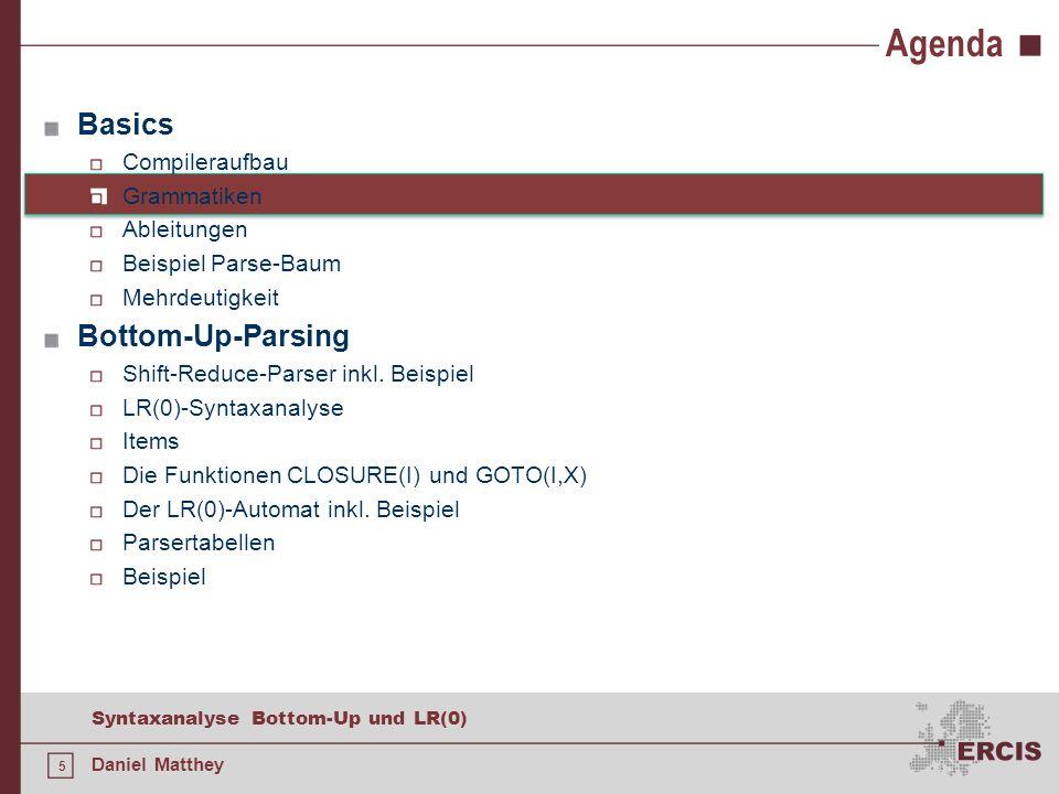 5 Syntaxanalyse Bottom-Up und LR(0) Daniel Matthey Agenda Basics Compileraufbau Grammatiken Ableitungen Beispiel Parse-Baum Mehrdeutigkeit Bottom-Up-P