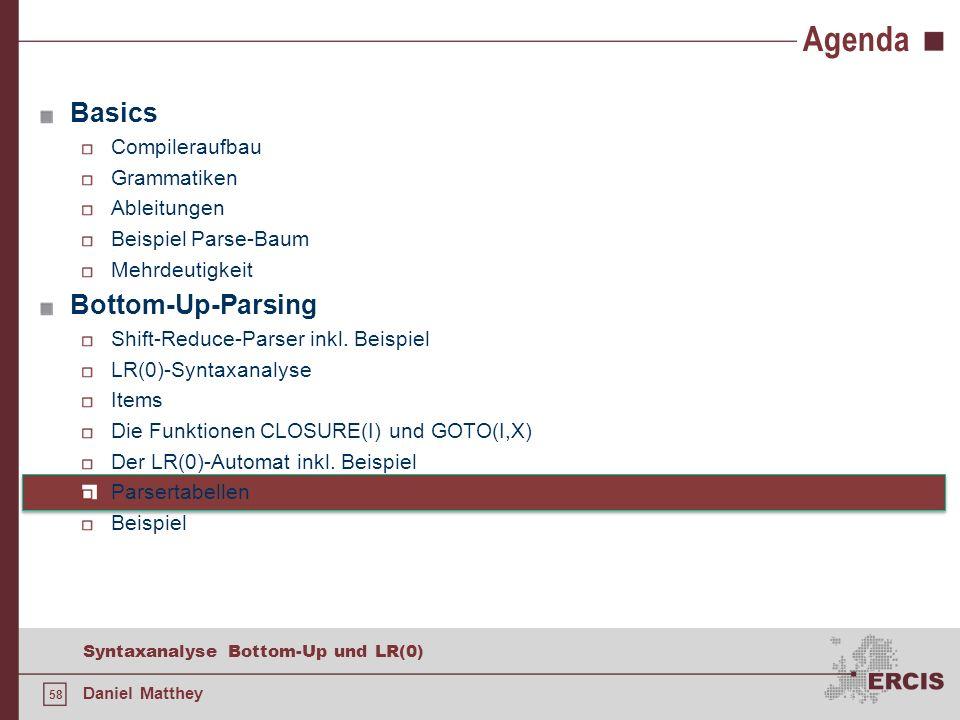 58 Syntaxanalyse Bottom-Up und LR(0) Daniel Matthey Agenda Basics Compileraufbau Grammatiken Ableitungen Beispiel Parse-Baum Mehrdeutigkeit Bottom-Up-