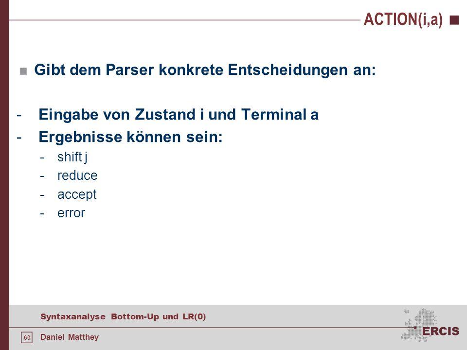 60 Syntaxanalyse Bottom-Up und LR(0) Daniel Matthey ACTION(i,a) Gibt dem Parser konkrete Entscheidungen an: - Eingabe von Zustand i und Terminal a - E