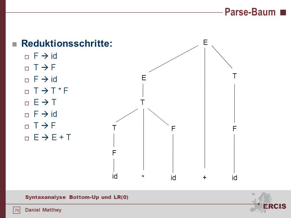 76 Syntaxanalyse Bottom-Up und LR(0) Daniel Matthey Parse-Baum Reduktionsschritte: F id T F F id T T * F E T F id T F E E + T F id + * F T T E T E F