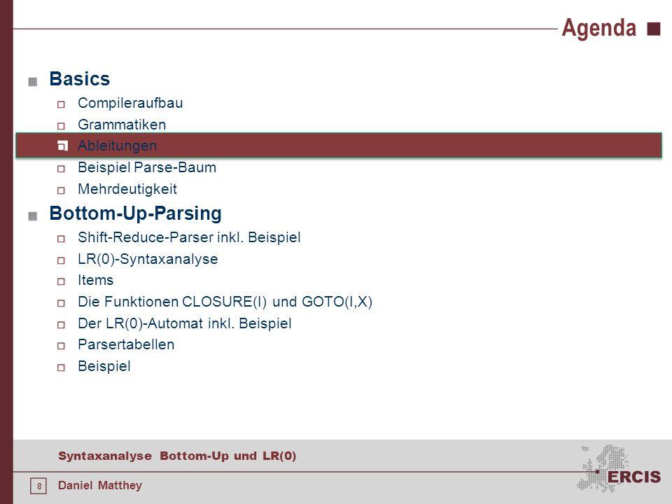 49 Syntaxanalyse Bottom-Up und LR(0) Daniel Matthey Der LR(0)-Automat E E + T | T T T * F | F F ( E ) | id DragonBook S.294
