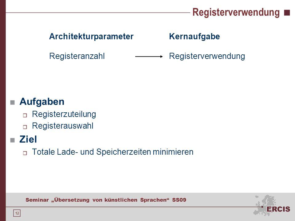 12 Seminar Übersetzung von künstlichen Sprachen SS09 Registerverwendung Aufgaben Registerzuteilung Registerauswahl Ziel Totale Lade- und Speicherzeiten minimieren Architekturparameter Registeranzahl Kernaufgabe Registerverwendung