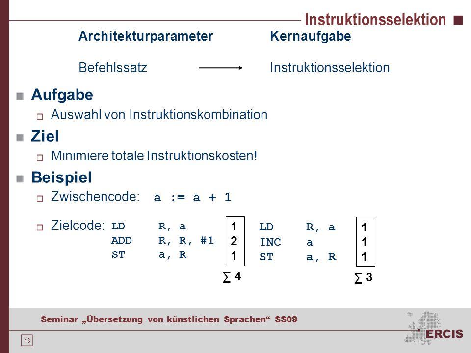 13 Seminar Übersetzung von künstlichen Sprachen SS09 Instruktionsselektion Aufgabe Auswahl von Instruktionskombination Ziel Minimiere totale Instruktionskosten.