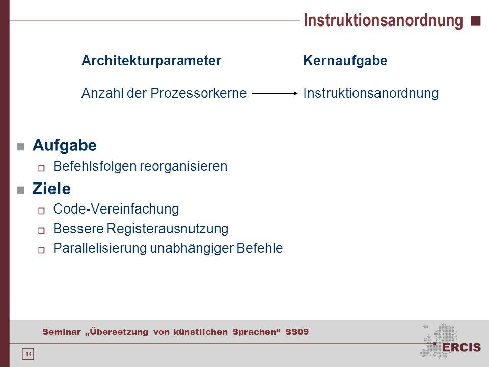 14 Seminar Übersetzung von künstlichen Sprachen SS09 Architekturparameter Anzahl der Prozessorkerne Kernaufgabe Instruktionsanordnung Aufgabe Befehlsfolgen reorganisieren Ziele Code-Vereinfachung Bessere Registerausnutzung Parallelisierung unabhängiger Befehle