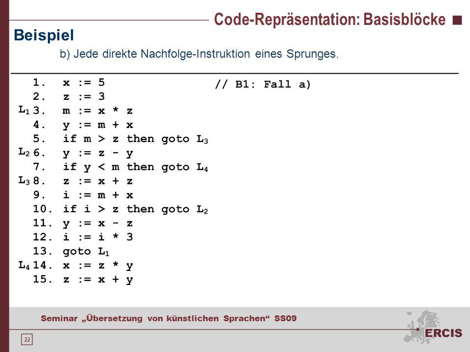 22 Seminar Übersetzung von künstlichen Sprachen SS09 Code-Repräsentation: Basisblöcke Beispiel b) Jede direkte Nachfolge-Instruktion eines Sprunges.