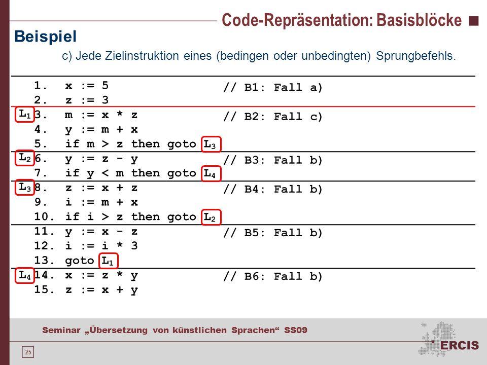 25 Seminar Übersetzung von künstlichen Sprachen SS09 Code-Repräsentation: Basisblöcke Beispiel c) Jede Zielinstruktion eines (bedingen oder unbedingten) Sprungbefehls.