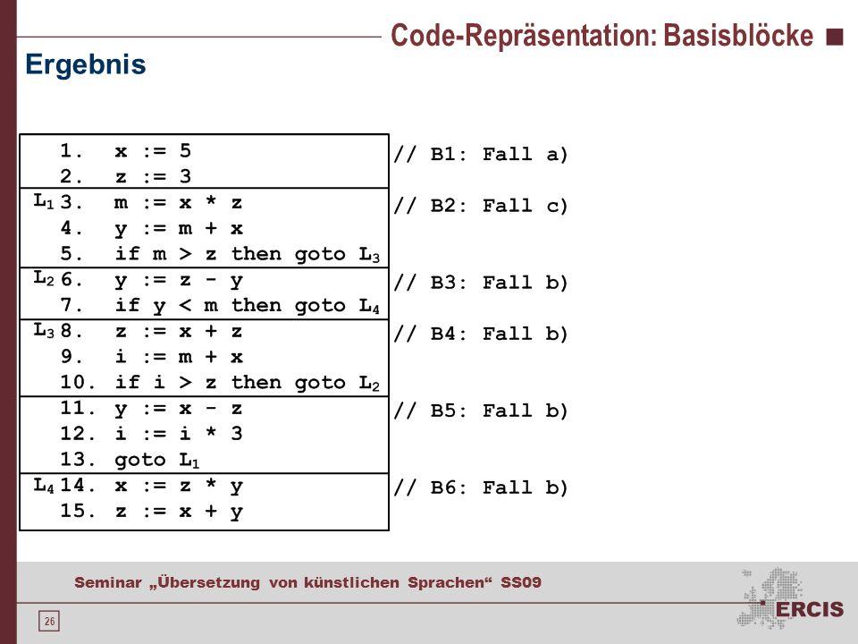 26 Seminar Übersetzung von künstlichen Sprachen SS09 Code-Repräsentation: Basisblöcke Ergebnis