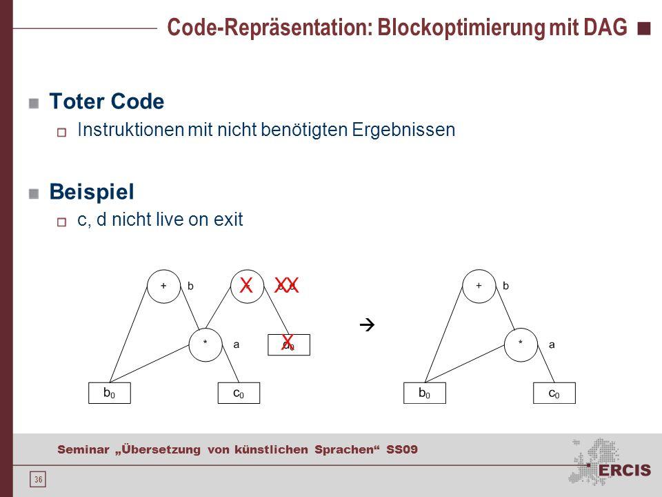 36 Seminar Übersetzung von künstlichen Sprachen SS09 Code-Repräsentation: Blockoptimierung mit DAG Toter Code Instruktionen mit nicht benötigten Ergebnissen Beispiel c, d nicht live on exit