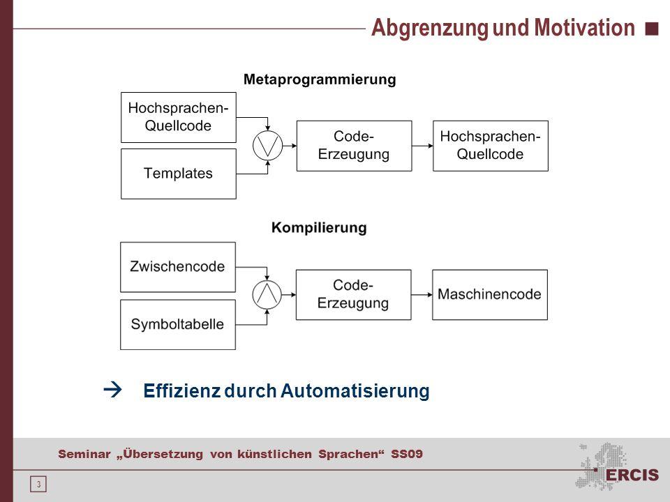 3 Seminar Übersetzung von künstlichen Sprachen SS09 Abgrenzung und Motivation Effizienz durch Automatisierung