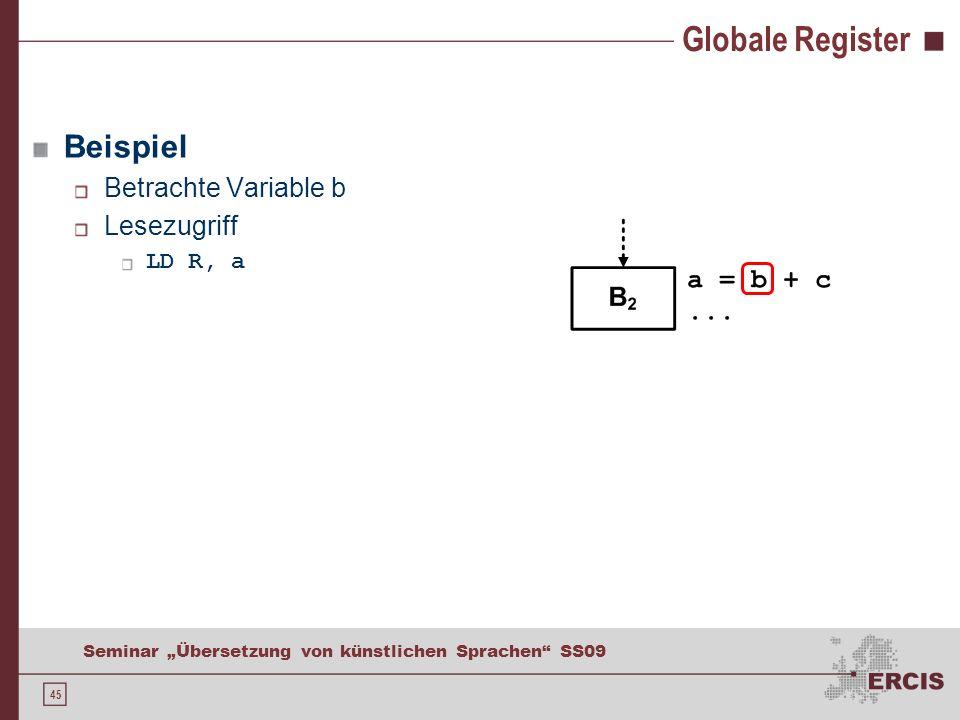 45 Seminar Übersetzung von künstlichen Sprachen SS09 Globale Register Beispiel Betrachte Variable b Lesezugriff LD R, a