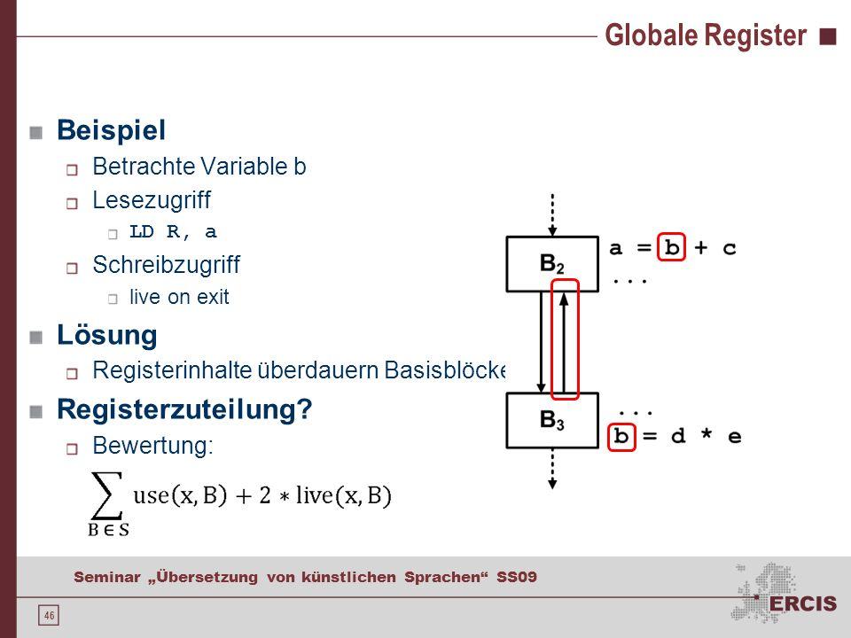 46 Seminar Übersetzung von künstlichen Sprachen SS09 Globale Register Beispiel Betrachte Variable b Lesezugriff LD R, a Schreibzugriff live on exit Lösung Registerinhalte überdauern Basisblöcke Registerzuteilung.