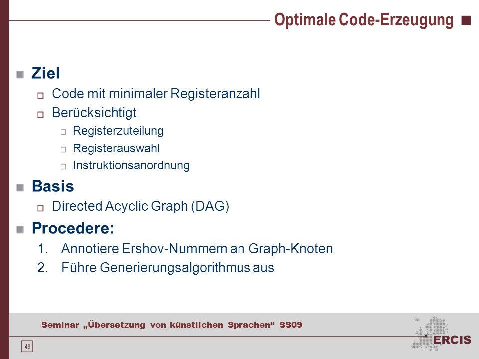 49 Seminar Übersetzung von künstlichen Sprachen SS09 Optimale Code-Erzeugung Ziel Code mit minimaler Registeranzahl Berücksichtigt Registerzuteilung Registerauswahl Instruktionsanordnung Basis Directed Acyclic Graph (DAG) Procedere: 1.Annotiere Ershov-Nummern an Graph-Knoten 2.Führe Generierungsalgorithmus aus