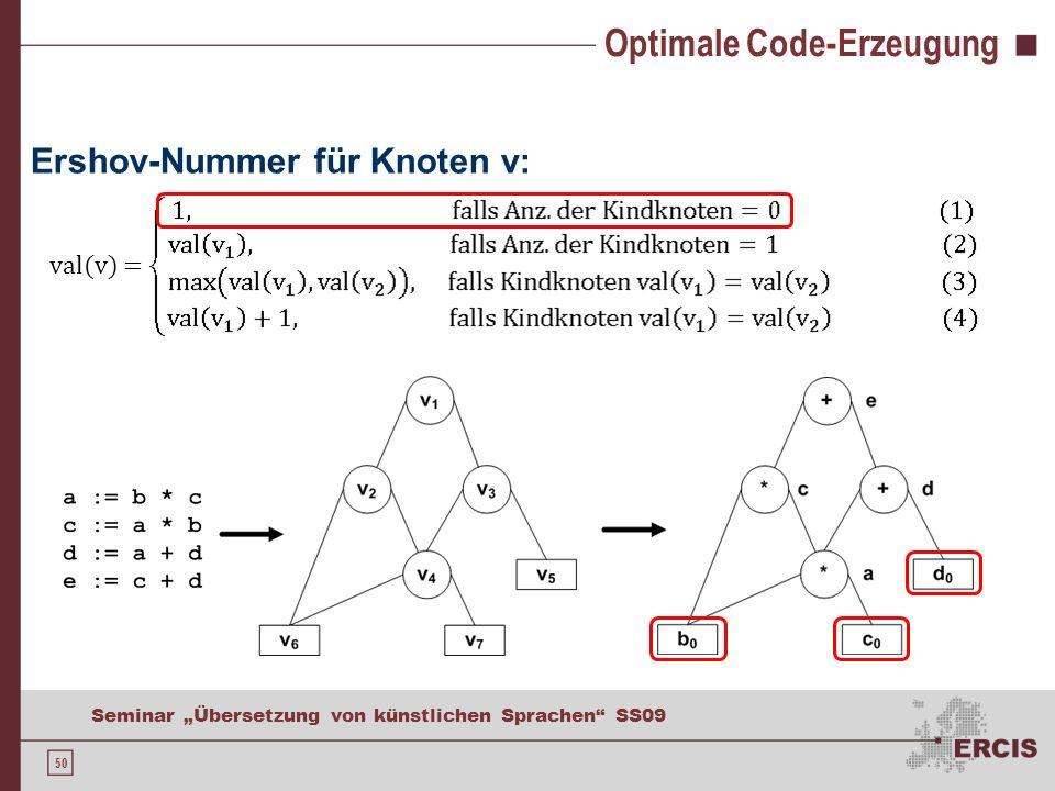 50 Seminar Übersetzung von künstlichen Sprachen SS09 Optimale Code-Erzeugung Ershov-Nummer für Knoten v: val(v) =