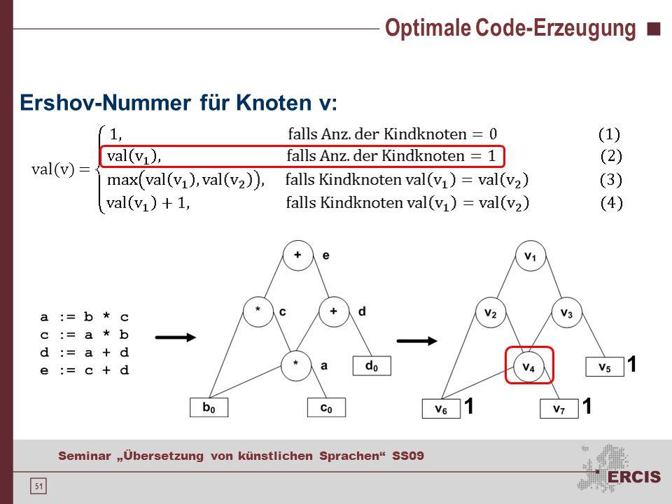 51 Seminar Übersetzung von künstlichen Sprachen SS09 Optimale Code-Erzeugung Ershov-Nummer für Knoten v: val(v) = 11 1