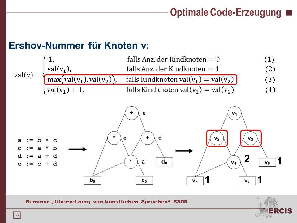 52 Seminar Übersetzung von künstlichen Sprachen SS09 Optimale Code-Erzeugung Ershov-Nummer für Knoten v: val(v) = 11 1 2