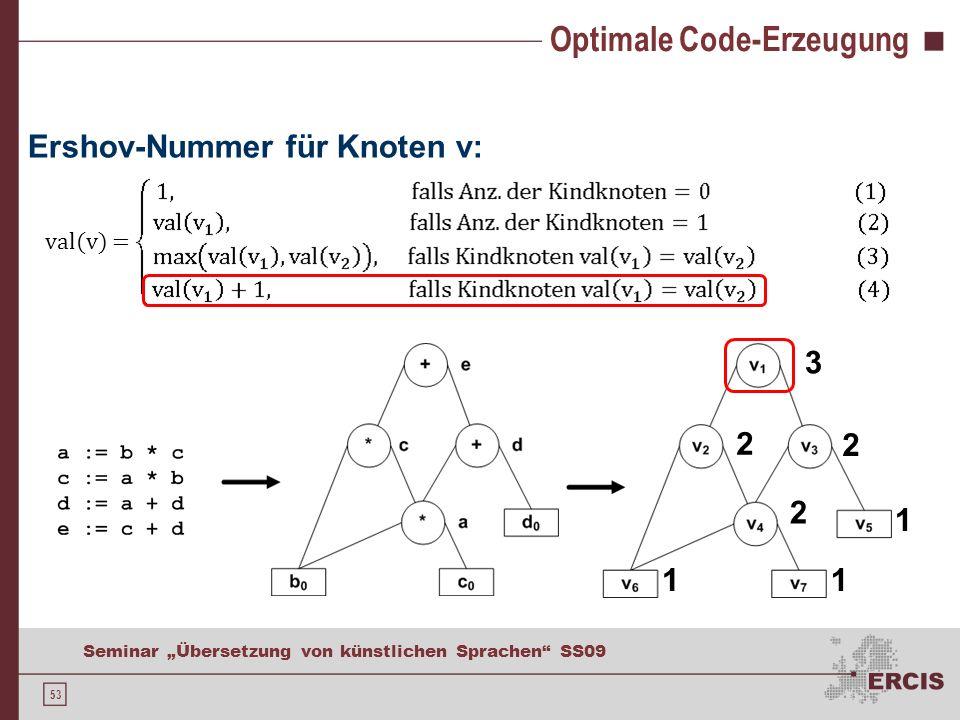 53 Seminar Übersetzung von künstlichen Sprachen SS09 Optimale Code-Erzeugung Ershov-Nummer für Knoten v: val(v) = 11 1 2 2 2 3