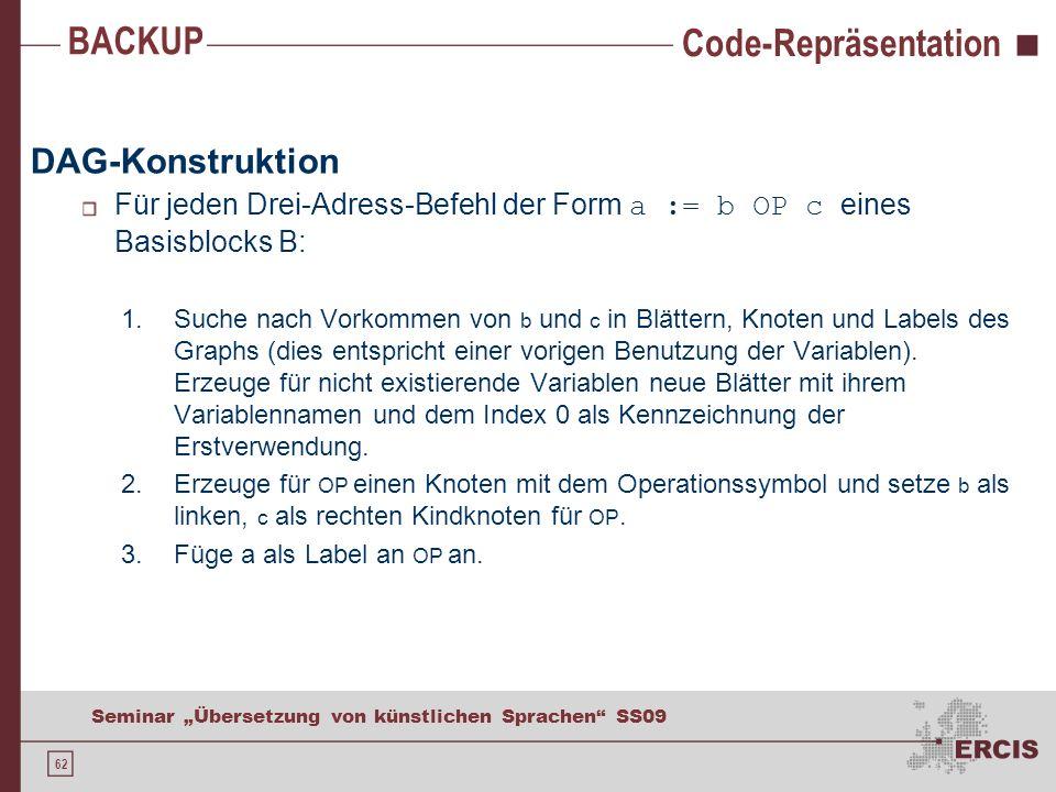 62 Seminar Übersetzung von künstlichen Sprachen SS09 Code-Repräsentation DAG-Konstruktion Für jeden Drei-Adress-Befehl der Form a := b OP c eines Basi