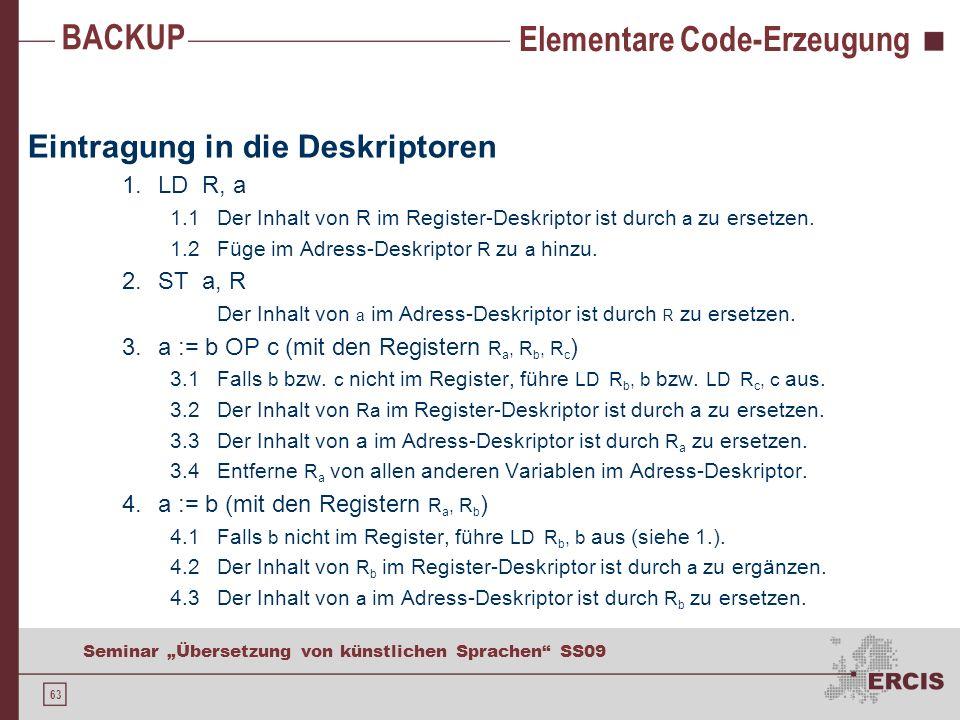 63 Seminar Übersetzung von künstlichen Sprachen SS09 Elementare Code-Erzeugung Eintragung in die Deskriptoren 1.LD R, a 1.1 Der Inhalt von R im Register-Deskriptor ist durch a zu ersetzen.