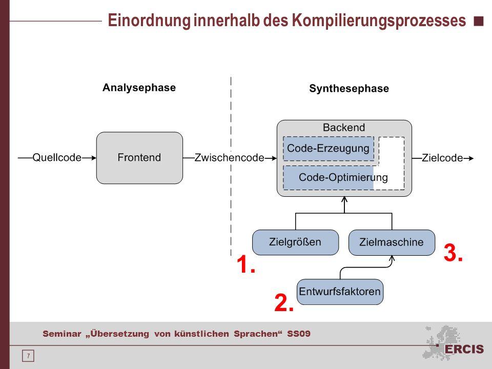 7 Seminar Übersetzung von künstlichen Sprachen SS09 Einordnung innerhalb des Kompilierungsprozesses 1. 2. 3.